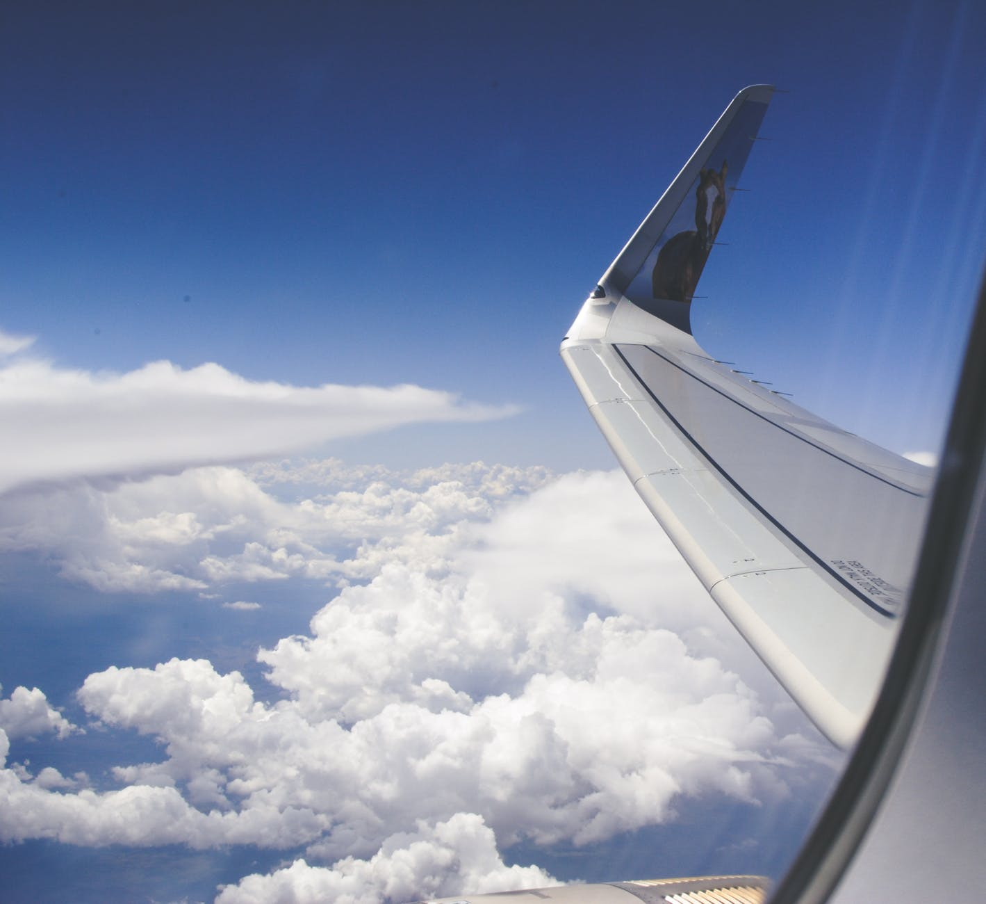 high angle photograph of airplane wings above the clouds under clear blue sky
